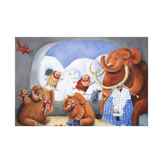 Woolly Mammoth Family in Ice Age Stretched Canvas Print