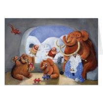 artsprojekt, mammoth, baby mammoth, baby mammoths, prehistoric animal, cave man, ice age, snow fight, snow, winter, cave men, woolly mammoth, children illustration, for kids, Cartão com design gráfico personalizado