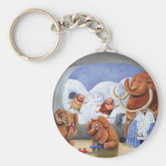 Woolly Mammoth Family in Ice Age Key Chain