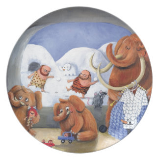 Woolly Mammoth Family in Ice Age Melamine Plate