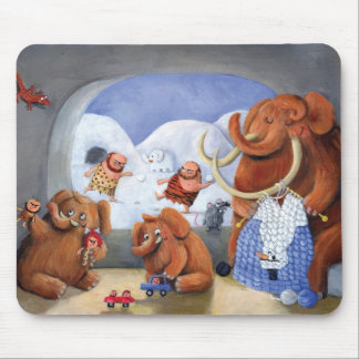 Woolly Mammoth Family in Ice Age Mouse Pad