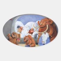 artsprojekt, mammoth, baby mammoth, baby mammoths, prehistoric animal, cave man, ice age, snow fight, snow, winter, cave men, woolly mammoth, children illustration, for kids, Sticker with custom graphic design
