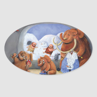 Woolly Mammoth Family in Ice Age Oval Sticker