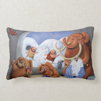 Woolly Mammoth Family in Ice Age Throw Pillow