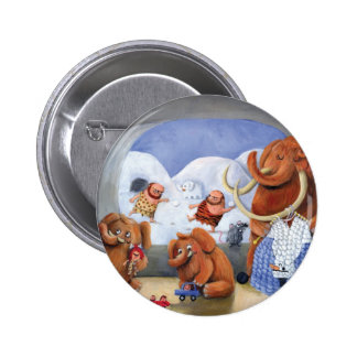 Woolly Mammoth Family in Ice Age Pin