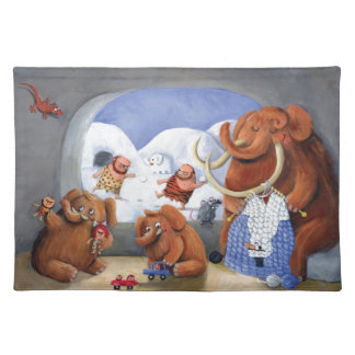 Woolly Mammoth Family in Ice Age Place Mat