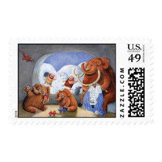 Woolly Mammoth Family in Ice Age Postage Stamp
