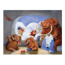 artsprojekt, mammoth, baby mammoth, baby mammoths, prehistoric animal, cave man, ice age, snow fight, snow, winter, cave men, woolly mammoth, children illustration, for kids, Cartão postal com design gráfico personalizado