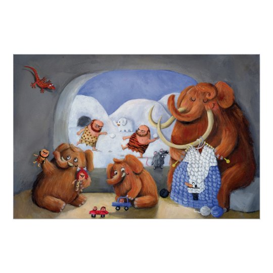 Woolly Mammoth Family in Ice Age Poster