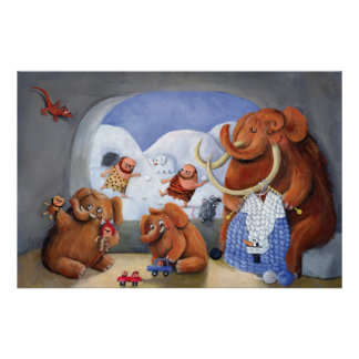 Woolly Mammoth Family in Ice Age Posters