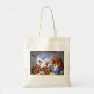 Woolly Mammoth Family in Ice Age Tote Bag
