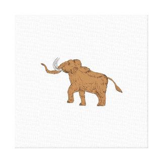 Woolly Mammoth Prancing Drawing Canvas Print