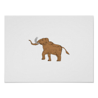 Woolly Mammoth Prancing Drawing Poster