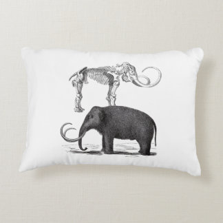 Woolly Mammoth Pre-Historic Elephant and Skeleton Accent Pillow