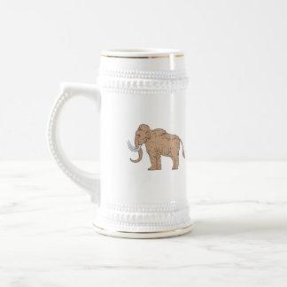 Woolly Mammoth Side Drawing Beer Stein