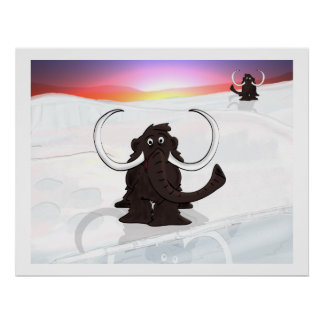 Woolly Mammoths in Winter Poster