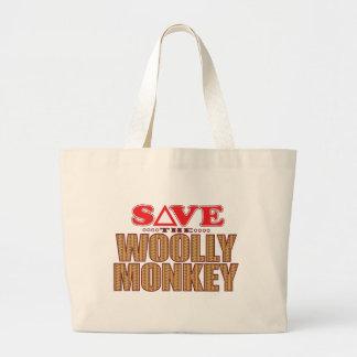 Woolly Monkey Save Large Tote Bag