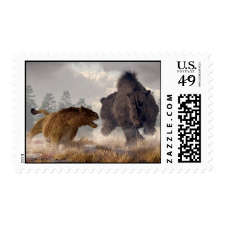 Woolly Rhino and Cave Lion Postage Stamp