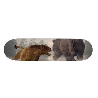 Woolly Rhino and Cave Lion Skateboard Deck
