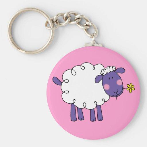 Woolly sheep basic round button keychain
