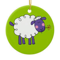 Woolly sheep ceramic ornament