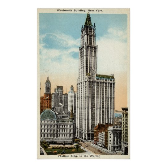 Woolworth Building New York Repro Vintage 1921 Poster