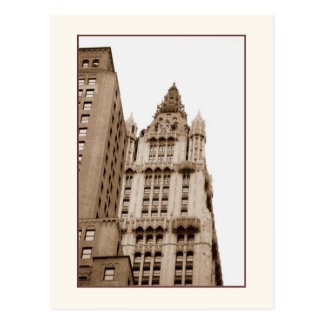 Woolworth Building Sepia Postcard