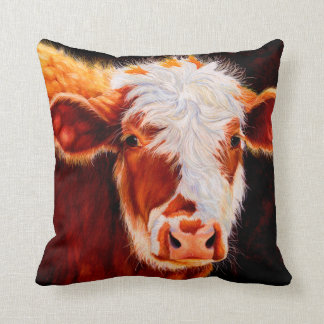 Wooly Bully - Hairy Hereford Calf Cow Pillow