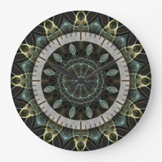 wooly green and blue kaleido1 large clock