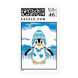 Wooly Hat Penguin Stamp stamp