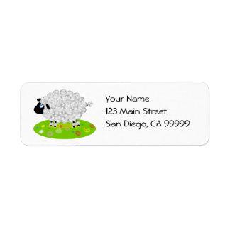 Wooly Lamb in the Flower Field Custom Return Address Labels