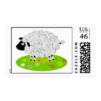 Wooly Lamb in the Flower Field Stamps
