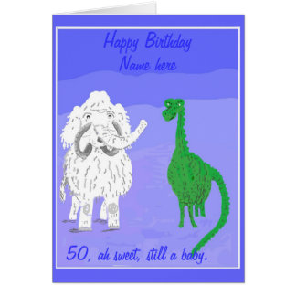 Wooly Mammoth birthday card, add name front Card