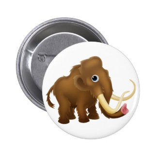 Wooly Mammoth Cartoon Button