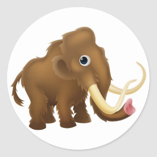 Wooly Mammoth Cartoon Classic Round Sticker