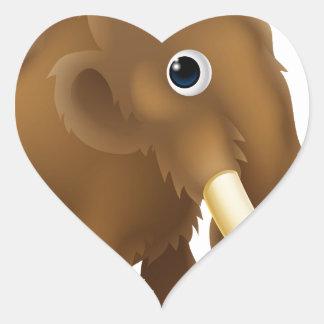 Wooly Mammoth Cartoon Heart Sticker