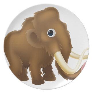 Wooly Mammoth Cartoon Melamine Plate