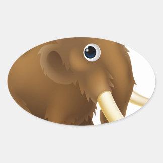 Wooly Mammoth Cartoon Oval Sticker