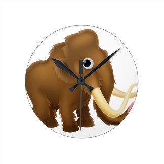 Wooly Mammoth Cartoon Round Clock