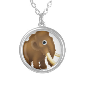 Wooly Mammoth Cartoon Round Pendant Necklace