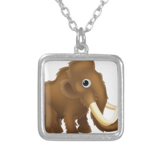 Wooly Mammoth Cartoon Square Pendant Necklace