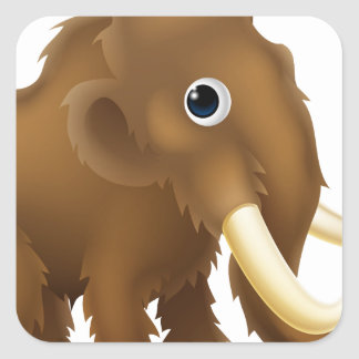 Wooly Mammoth Cartoon Square Sticker