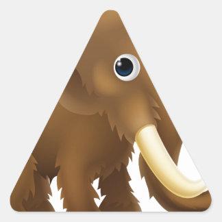 Wooly Mammoth Cartoon Triangle Sticker