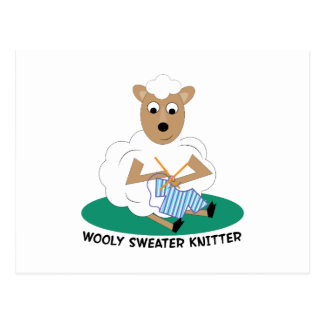 Wooly Sweater Knitter Postcard