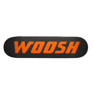 WOOSH - Sharp Neon Orange on Black Skateboard
