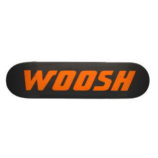 WOOSH - Sharp Neon Orange on Black Skateboard Deck