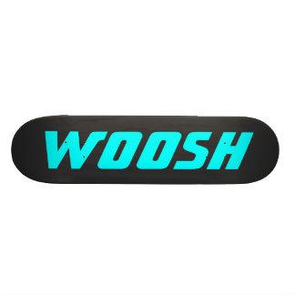 WOOSH - Sharp Teal Aqua on Black Custom Skate Board