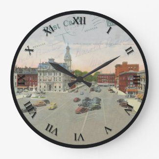 Wooster Ohio Post Card Clock - Court House Square