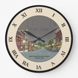 Wooster Ohio Post Card Clock - S. Market Street