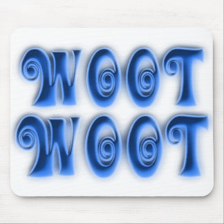 WOOT - blue curly font Mouse Pad